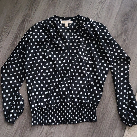 Michael Kors Polka Dot Blouse with Neck Tie